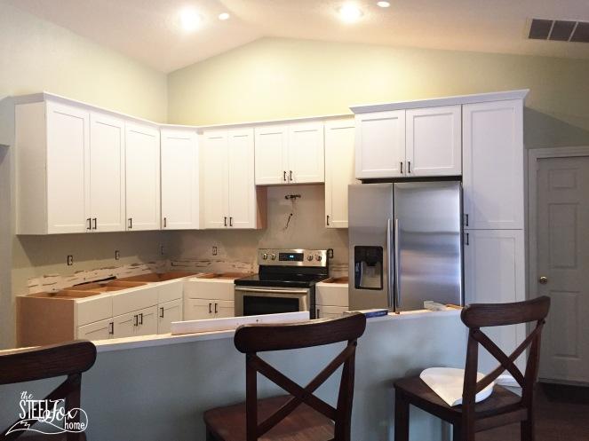10- rta shaker white kitchen cabinet renovation install farmhouse kitchen fixerupper the steel fox home blog