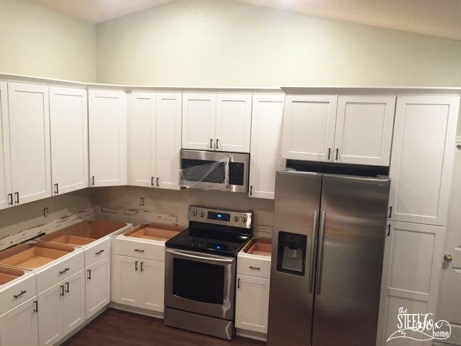 12- rta shaker white kitchen cabinet renovation install farmhouse kitchen fixerupper the steel fox home blog
