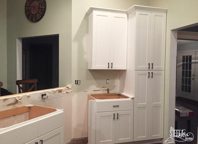 13- rta shaker white kitchen cabinet renovation install farmhouse kitchen fixerupper the steel fox home blog