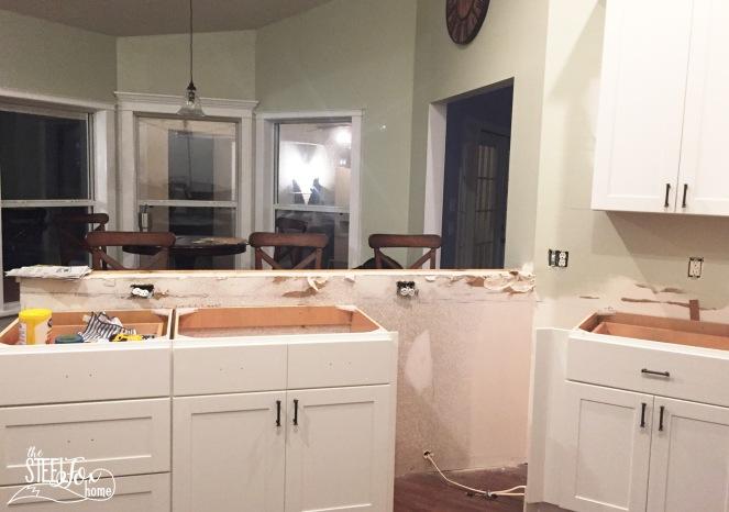 14- rta shaker white kitchen cabinet renovation install farmhouse kitchen fixerupper the steel fox home blog