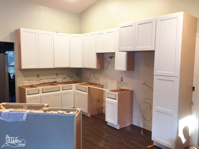 8- rta shaker white kitchen cabinet renovation install farmhouse kitchen fixerupper the steel fox home blog
