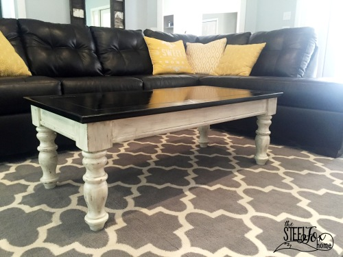 Easy inexpensive farmhouse DIY coffee table redo paint stain glaze distressed white chippy 8 the steel fox home blog