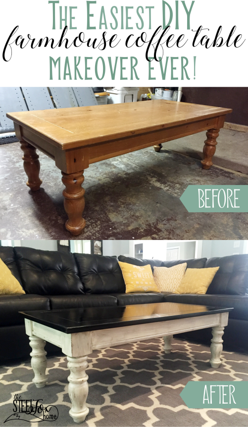 Easy inexpensive farmhouse DIY coffee table redo paint stain glaze distressed white chippy before and after the steel fox home blog