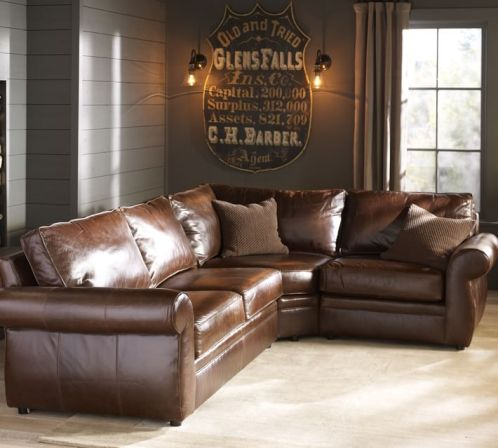 pottery barn leather sectional
