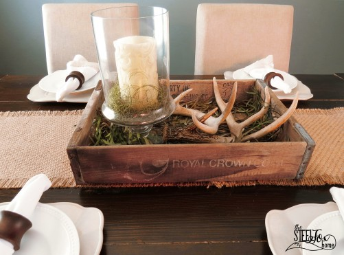 4- farmhouse fixer upper dining room renovation remodel reveal table deer antler centerpiece patents vintage antique barnwood before and after Chippy white wood chandelier the steel fox