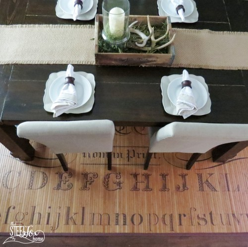7- farmhouse fixer upper dining room renovation remodel reveal table deer antler centerpiece patents vintage antique barnwood before and after Chippy white wood chandelier the steel fox