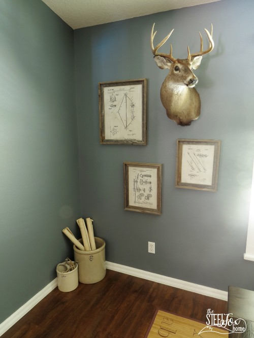 9- farmhouse fixer upper dining room renovation remodel reveal table deer antler centerpiece patents vintage antique barnwood before and after Chippy white wood chandelier the steel fox
