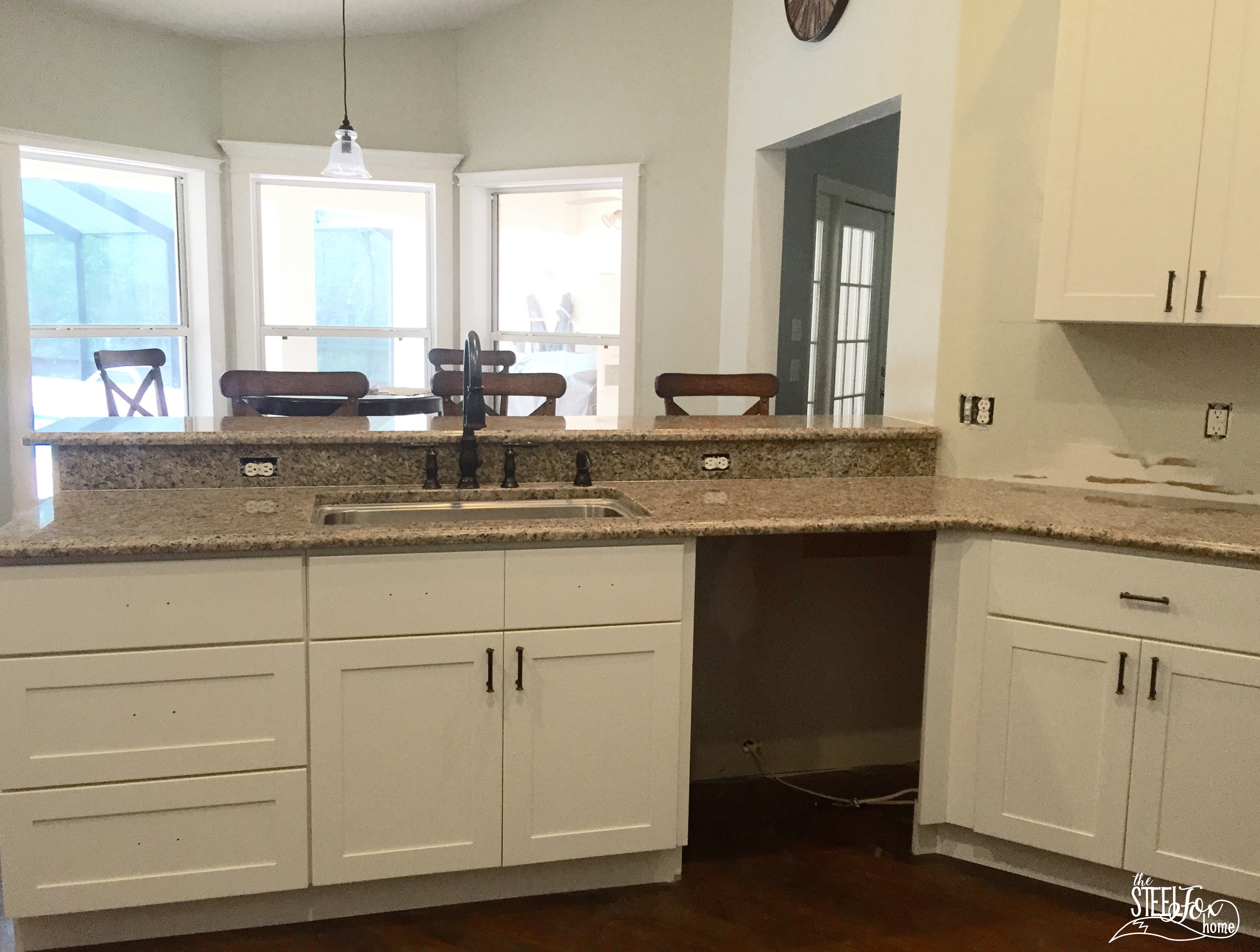 granite with white kitchen cabinets countertops compromises amp a diy backsplash the steel 15990